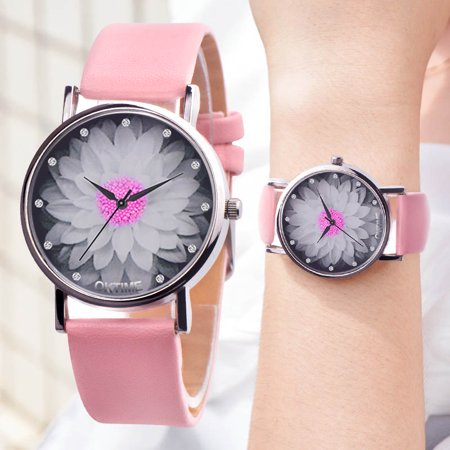 Women Colors Lotus Flower Dial Analog Quartz Watch Vogue PU Leather Band Wristwatch (Analog Leather Wrist Watch)