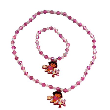 Dora the Explorer Pink and White Sequence Faux Stone -