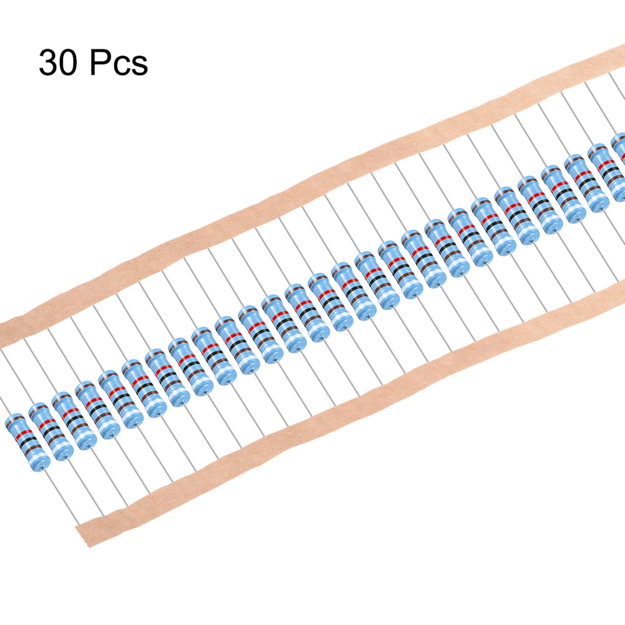 30pcs Metal Film Resistors 91K Ohm 2W 1%Tolerances 5 Color Bands - image 1 de 4