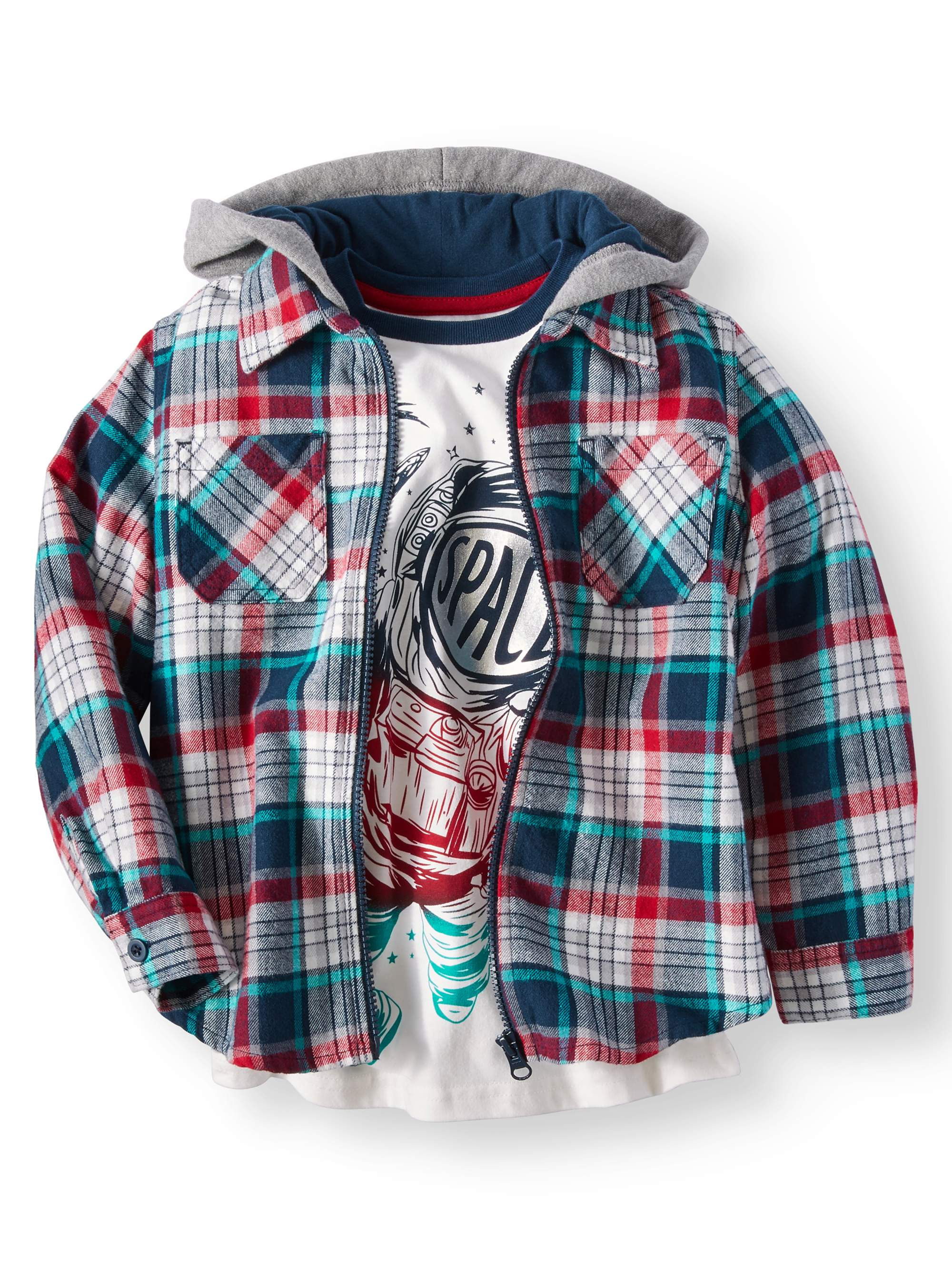 Wonder Nation Shirt Jacket With Graphic Tee 2 Piece Set (Little Boys & Big Boys)