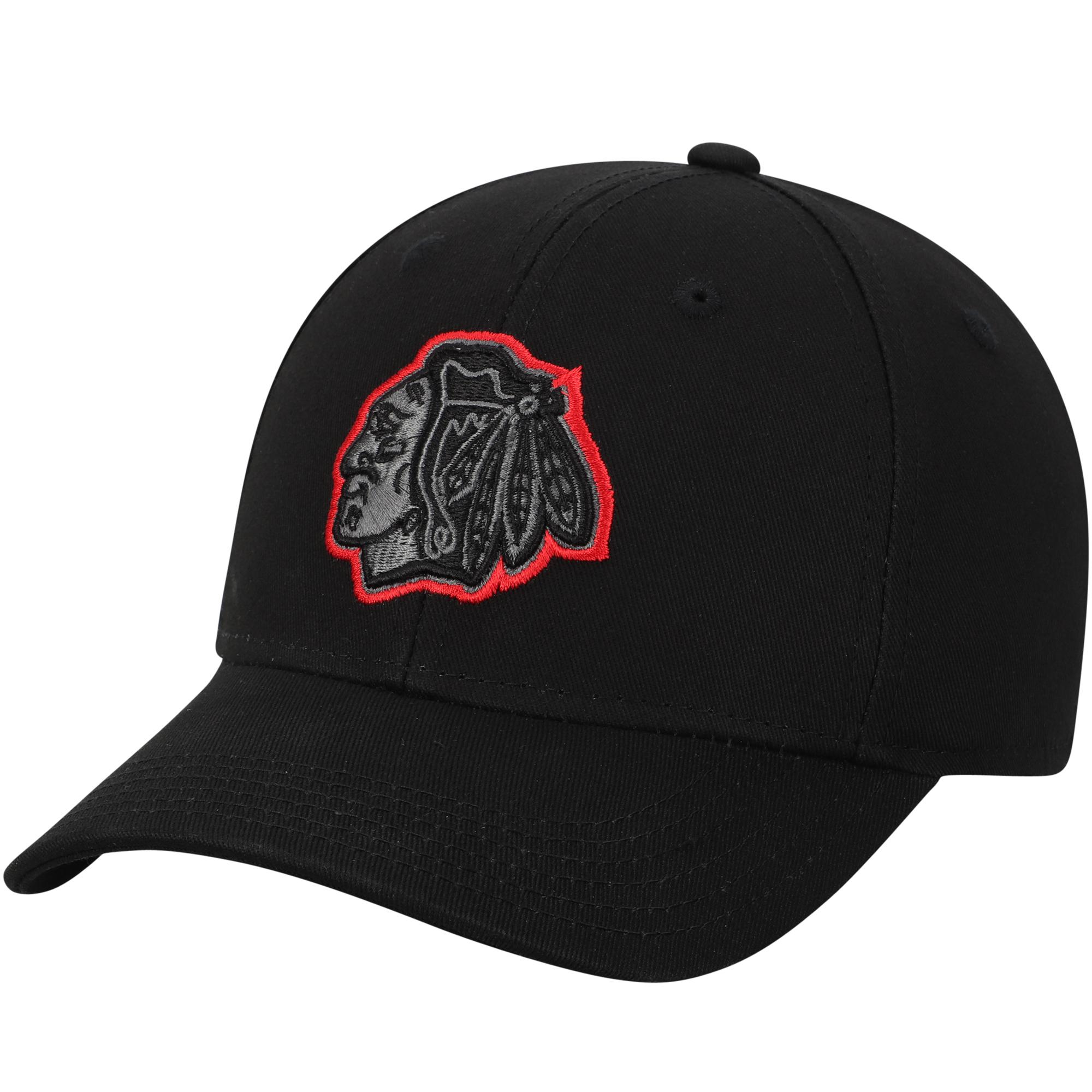 Chicago Blackhawks Youth Color Pop Structured Adjustable Hat - Black - OSFA