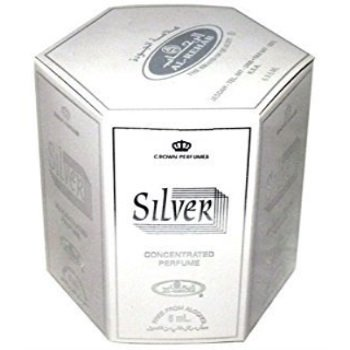 Silver - 6ml .2oz Roll-on Perfume Oil by Al-Rehab Crown Perfumes Box of