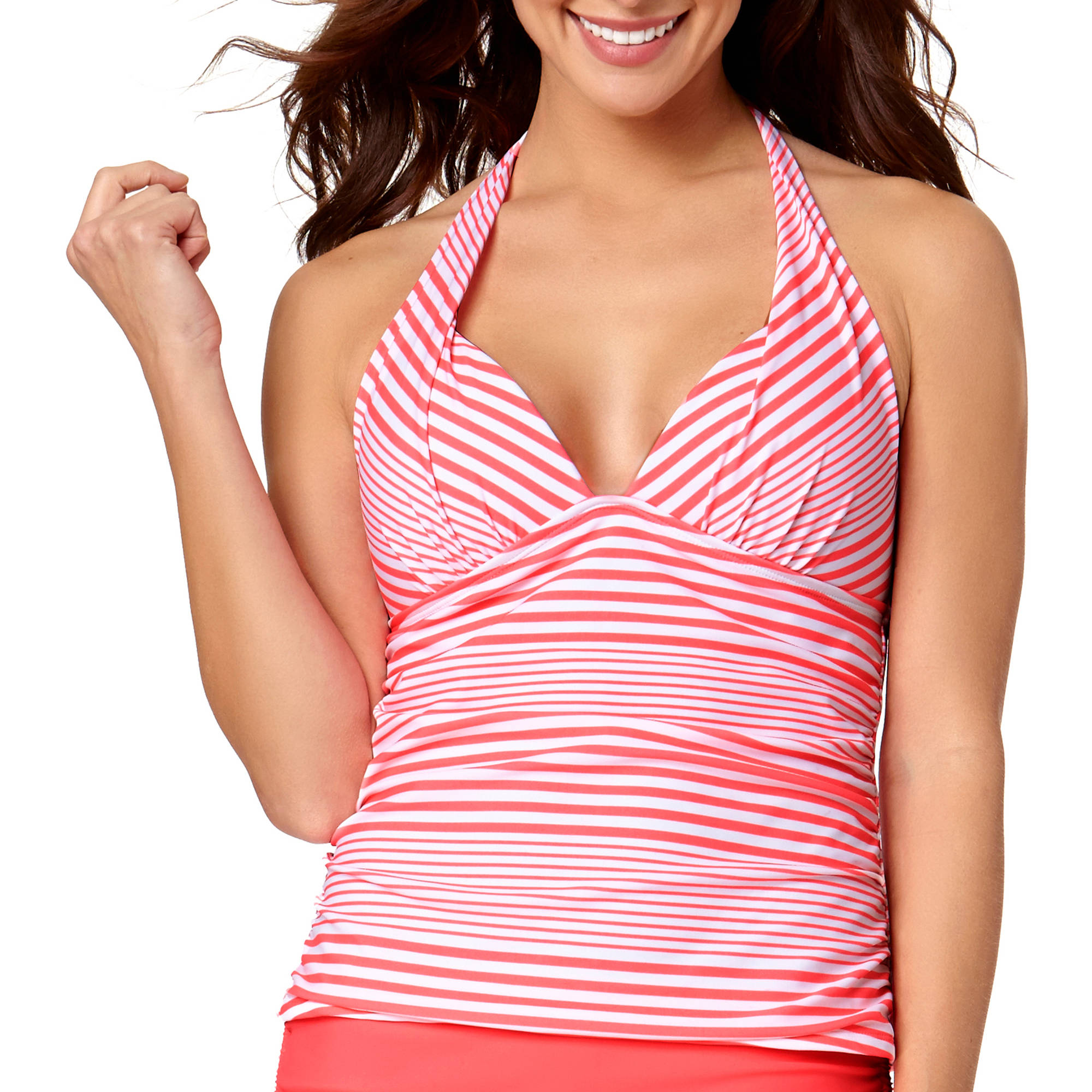 Collections By Catalina Women's Marina Stripe Halterkini Top