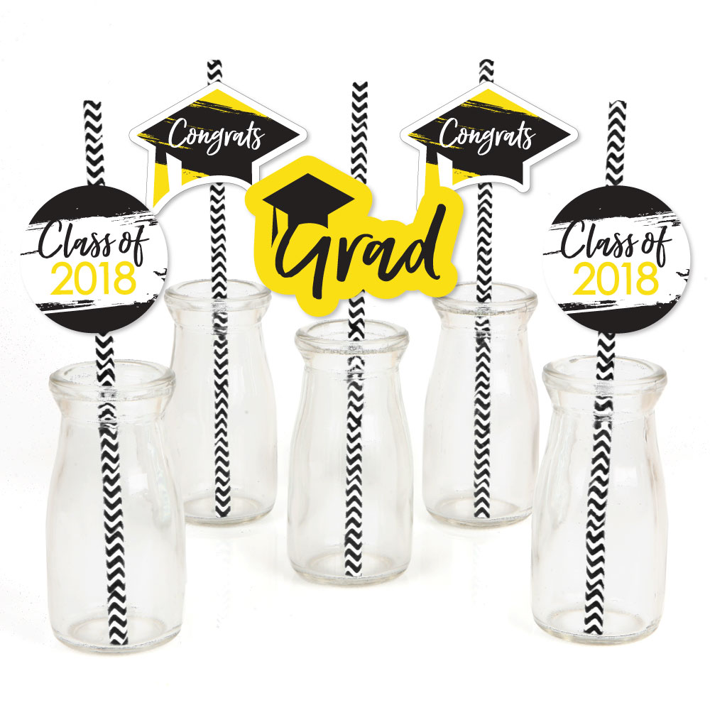 Yellow Grad - Best is Yet to Come - Paper Straw Decor - Yellow 2018 Graduation Striped Decorative Straws -Set of 24