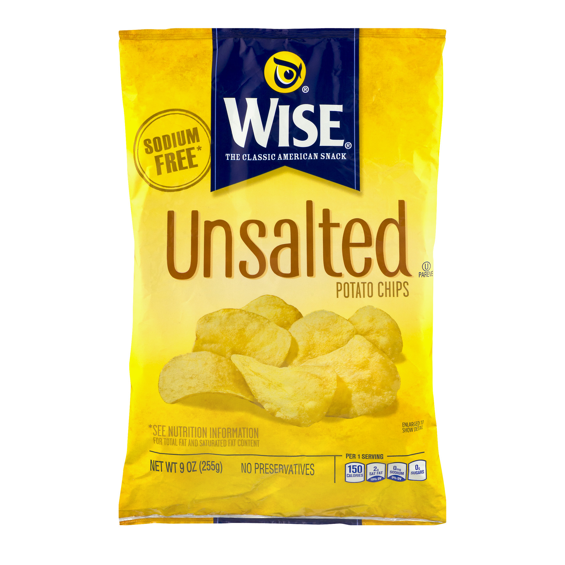 Wise® Unsalted Potato Chips 9 oz. Pack