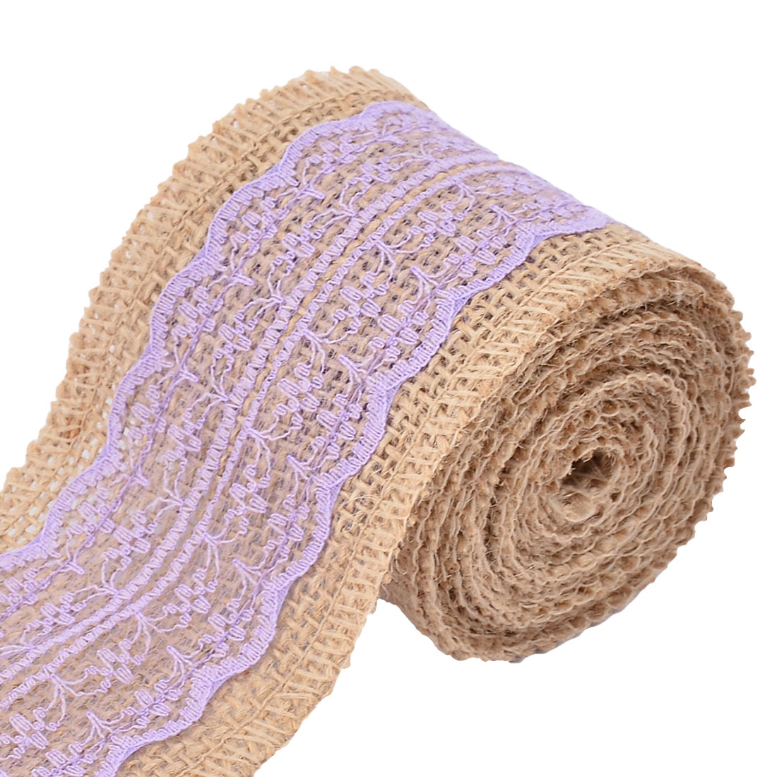 Home Lace Edge Ornament Craft Burlap Ribbon Strap Roll Light Purple 2.2 Yards