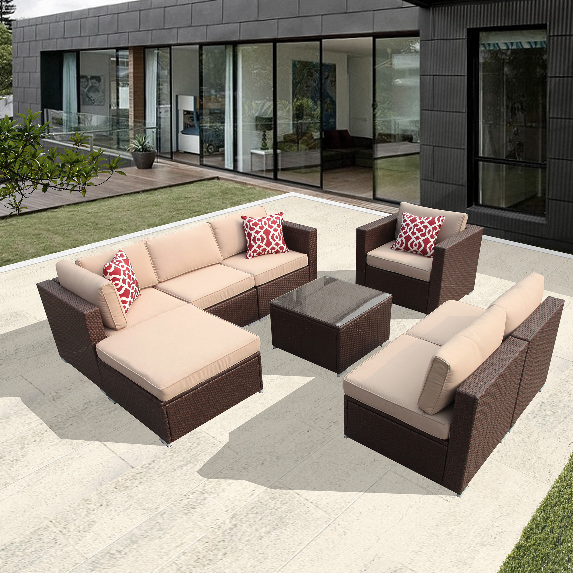 8pc Outdoor Rattan Sectional Furniture Set with Beige Seat and Back Cushions, Red Throw Pillows, Aluminum Frame,... by