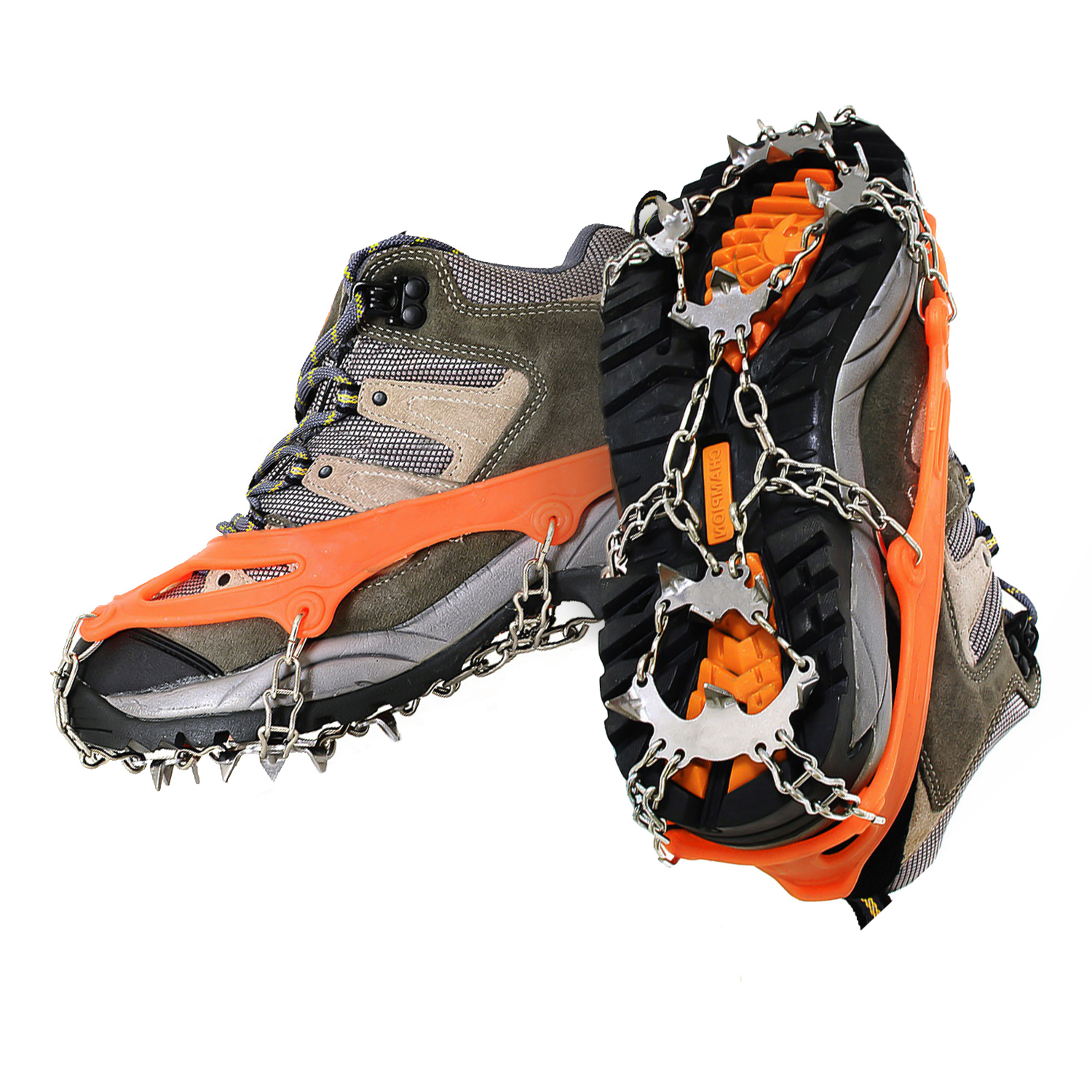 Funsparks Ice Cleats Snow Spikes Crampons Unisex Anti Slip Shoes Grippers w/ 18 Teeth Stainless Steel
