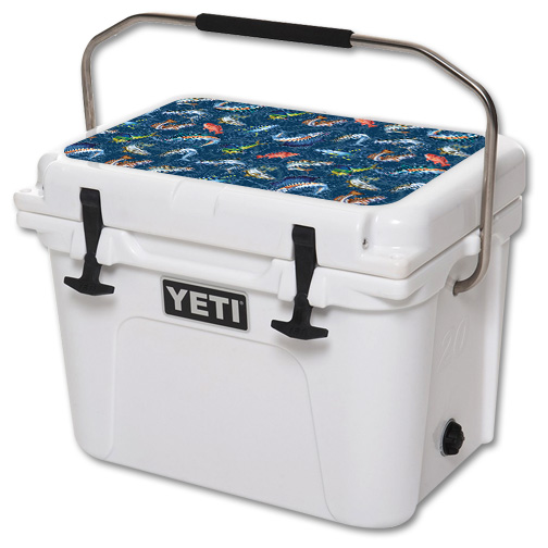 Skin For YETI Roadie 20 qt Cooler Lid – Saltwater Compass | MightySkins Protective, Durable, and Unique Vinyl Decal wrap cover | Easy To Apply, Remove, and Change Styles | Made in the USA