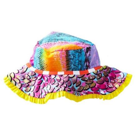 Azul Girls Orange Fuchsia Yellow In The Mix Stylish Sun Hat - Yellow Alpine Hat
