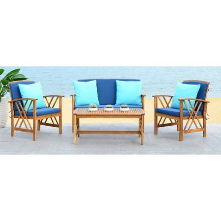 Safavieh Fontana Outdoor Modern 4 Piece Living Set with (4 Outdoor Wood)