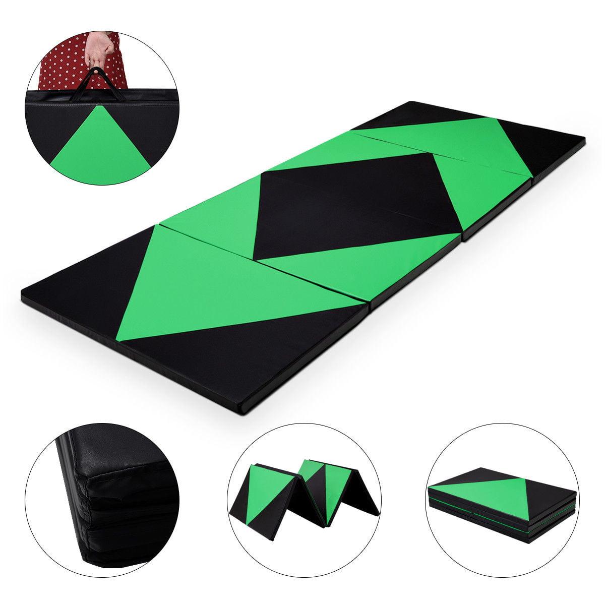 "Costway 4'x10'x2"" Thick Folding Panel Gymnastics Mat Gym Fitness (Green/Black)"