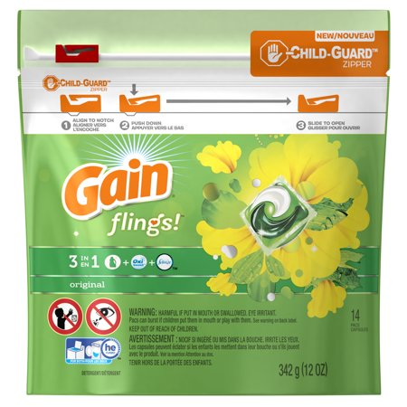 Gain flings! Liquid Laundry Detergent Pacs, Original, 14 count