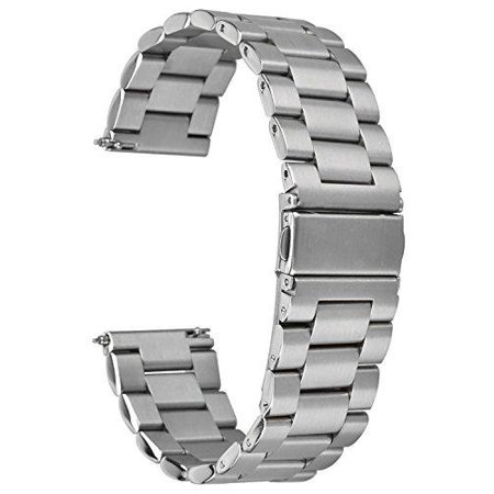 Stainless Steel Folding Clasp - elander solid stainless steel metal watch strap with folding clasp for fitbit blaze tracker (silver)