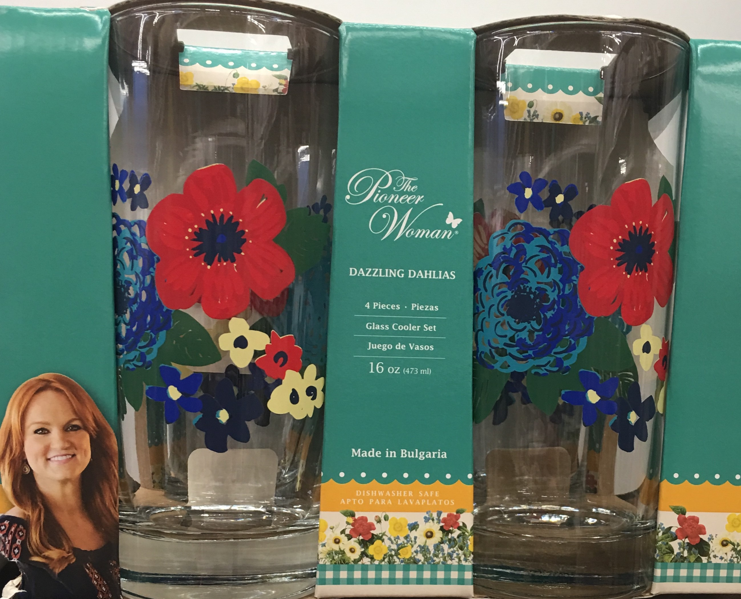 The Pioneer Woman Dazzling Dahlias Coolers, 4 Pack