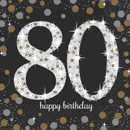 Over the Hill 'Sparkling Celebration' 80th Birthday Lunch Napkins (16ct) (80th Birthday Color)
