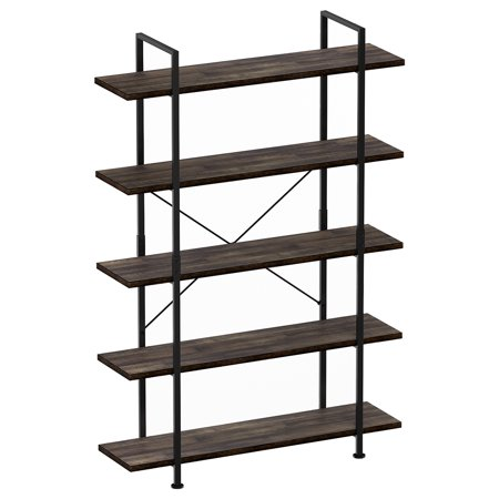 5-Tier Industrial Style Bookshelf, Wood and Metal Bookcases Furniture for Collection, Open Etagere Stand Storage Organizer Accent Furniture for Home and Office