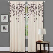 Generic Purple Orchid Flower Drops Window Single Curtain Panel