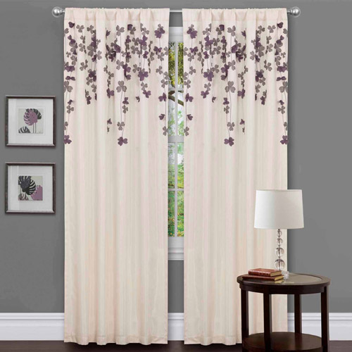 Generic Purple Orchid Flower Drops Window Single Curtain Panel