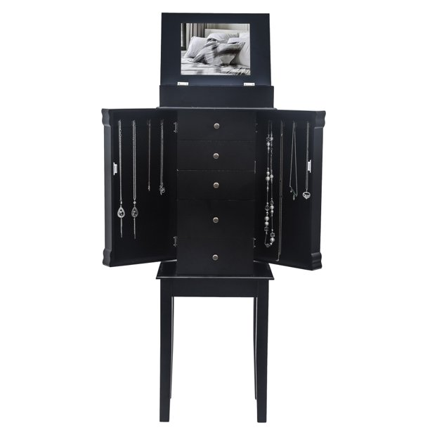 Standing Jewelry Armoire with Mirror, 5 Drawers & 8 ...