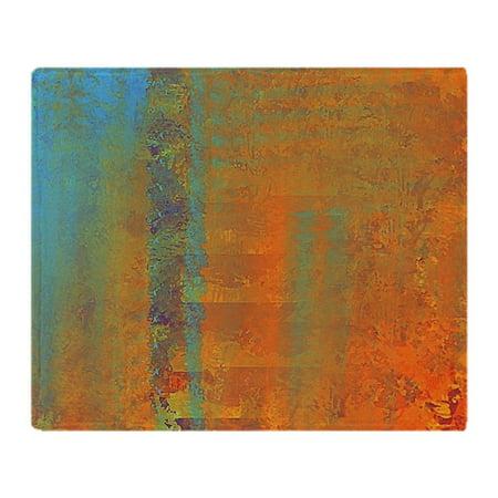 Copper River Fleece - CafePress - Abstract In Aqua, Copper And Gold - Soft Fleece Throw Blanket, 50