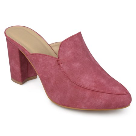- Women's Block Heel Distressed Loafer Mules