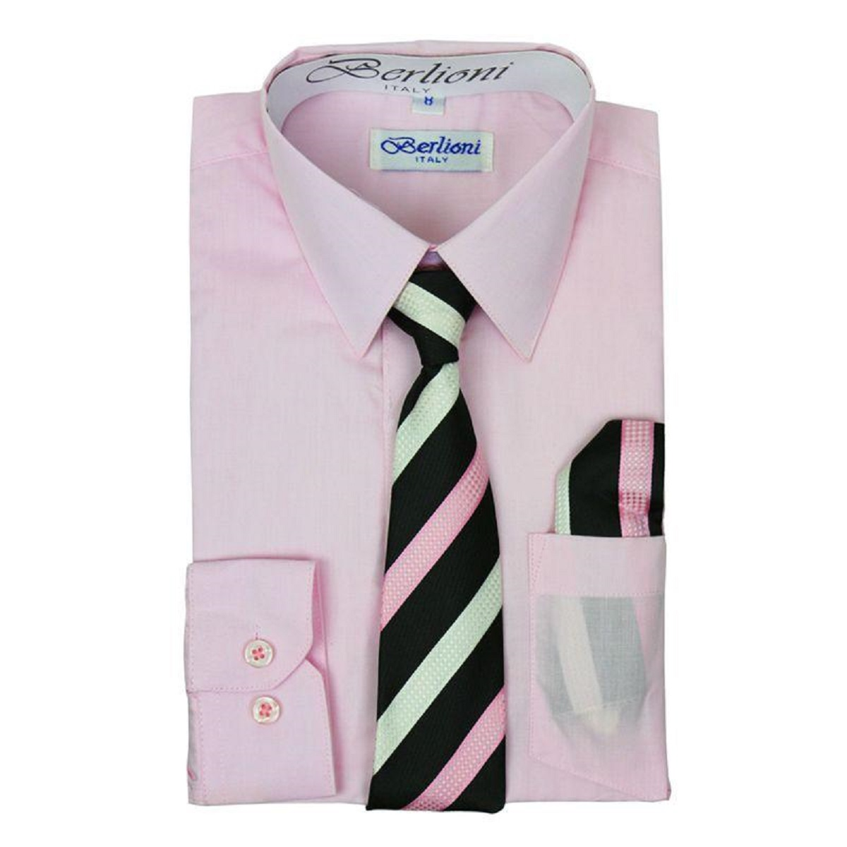 BERLIONI ITALY TODDLERS KIDS BOYS LONG SLEEVE DRESS SHIRT SET WITH TIE /& HANKY