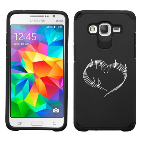 For Samsung Galaxy Grand Prime Shockproof Impact Hard Soft Case Cover Heart Love Music Notes  Black