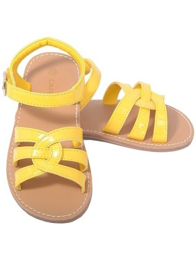 66d59ea1b68 Product Image L Amour Patent Yellow Woven Strap Summer Sandals Little Girls  11-4