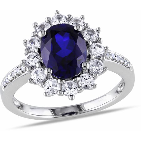 4 Carat T.G.W. Oval-Cut Created Blue and White Sapphire and Diamond-Accent Sterling Silver Halo Engagement Ring (Fake Oval Engagement Rings)