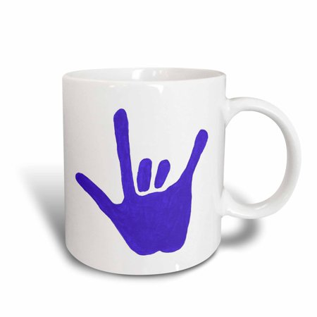 3dRose Love Sign Language Blue, Ceramic Mug, 11-ounce