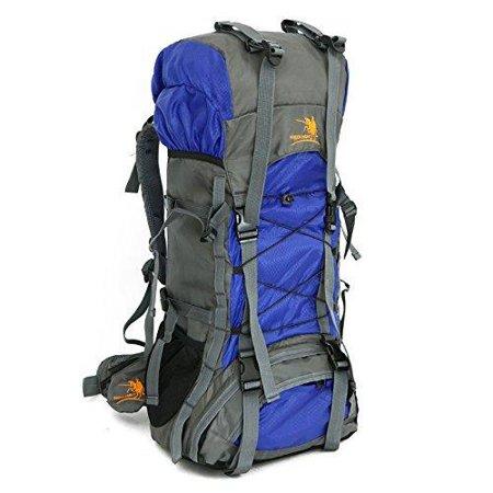 60L Internal Frame Outdoor Camping Travel Rucksack Mountaineering Backpack Climbing Hiking Bag Packs Large Capacity Blue