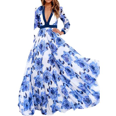 Sweetsmile Women Party Dresses Casual Deep V Long Evening Dresses Floral Long Sleeve Dress - Jelly The Pug Dress Sale