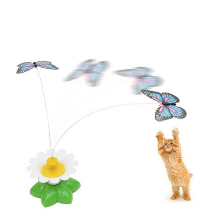 Electric Butterfly Flying Around The Flower Pet Cat Toy](Butterfly Pets)