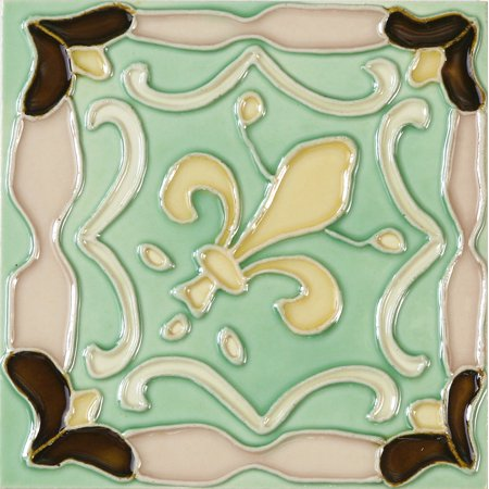 Solistone Hand-Painted Ceramic 6 in. x 6 in. Fleur De Lis Glazed Ceramic Wall Tile, Case of (Fleur De Lis Ceramic Tile)
