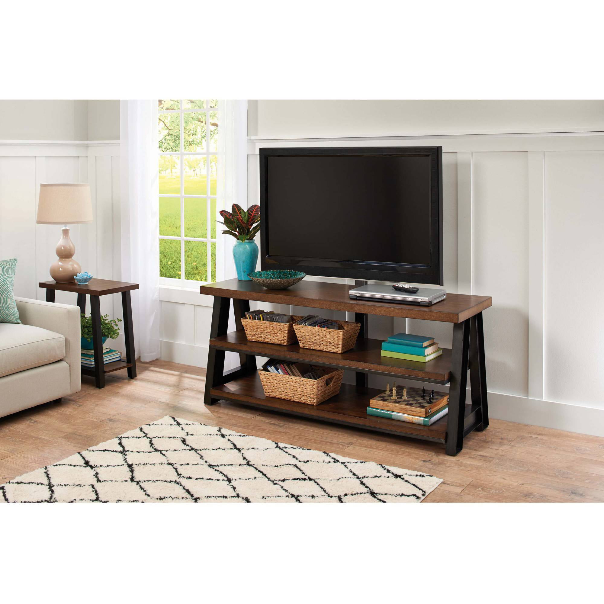 better homes and gardens mercer 3 in 1 brown tv stand for tvs up to 70 walmartcom - Better Home And Garden