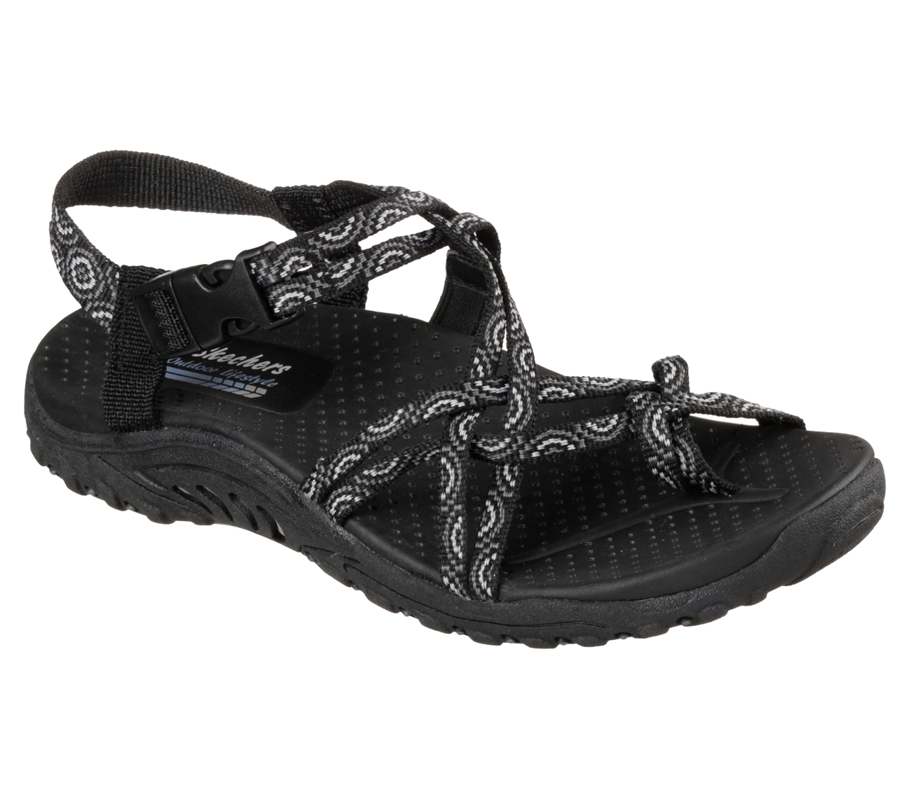 Skechers 40881BLK Women's REGGAE HAPPY RAINBOW Sandal Shoes US size 7 by Skechers