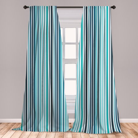 Abstract Curtains 2 Panels Set, Vertical Striped Pastel Toned Color Bands Lines Background Nautical Design, Window Drapes for Living Room Bedroom, Sky and Dark Blue, by Ambesonne ()