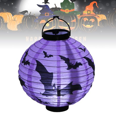 LED Paper Pumpkin Spider Bat Hanging Lantern Light Lamp for Halloween Party Decor, Halloween Decoration, Halloween Lighting, House, Garden, Yard, Fireplace