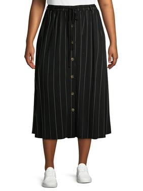Terra & Sky Women's Plus Size Button Front Printed Maxi Skirt