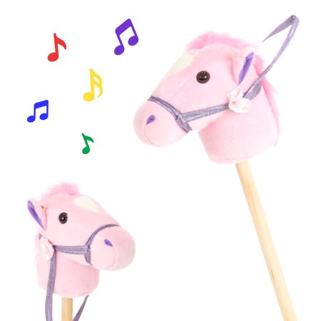 Best Choice Products 36in Kids Interactive Giddy-Up Stick Horse Stuffed Plush Animal Toy w/ 2 Different Sounds - Pink (Horse Stuffed Animal)