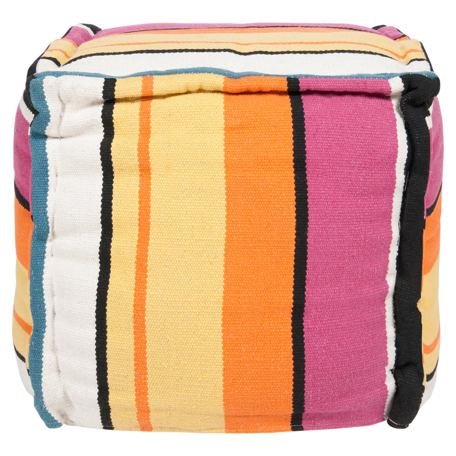 Surya 18 in. Mod Stripe Cube Cotton Pouf by Surya