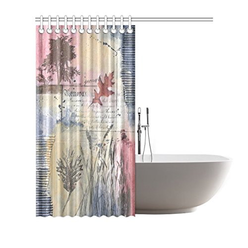 GCKG Fall Autumn Tree Painting Shower Curtain Hooks 66x72 Inches Purple Blue Pink Cool Colors Fabric Vintage Art Of Reeds Trees Grasses