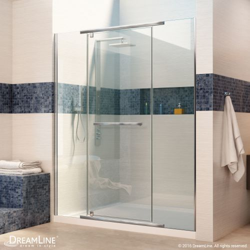 "Dreamline DL-6445-CL Vitreo-X 74-3/4"" High x 48"" Wide Pivot Framed Shower Door w"