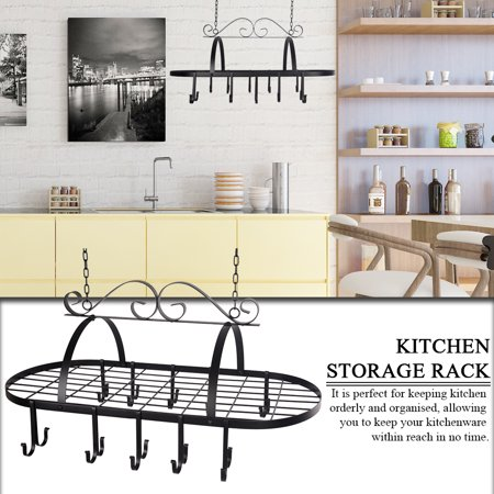 WALFRONT Black Color Metal Hanging Pan Pot Rack with 10 Hooks Home Kitchen  Storage Organizer ,Hanging Pan Rack, Kitchen Storage Rack