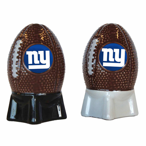 NFL Giants Football Shaped Salt and Pepper Shakers