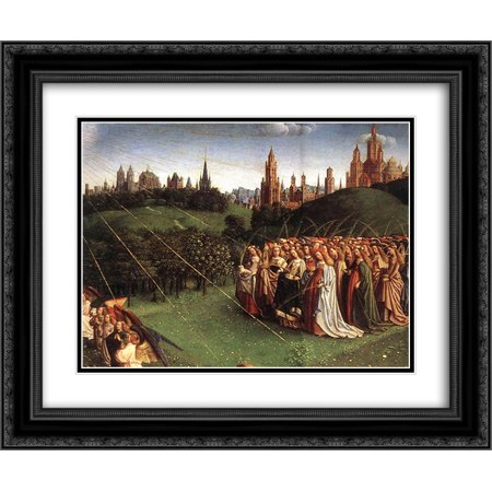 Van Eyck Ghent Altarpiece - Jan van Eyck 2x Matted 24x20 Black Ornate Framed Art Print 'The Ghent Altarpiece: Adoration of the Lamb [detail: top right 1]'