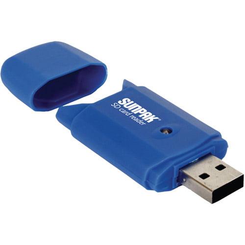 Sunpak SD-CR-BU Secure Digital Card Reader, Blue
