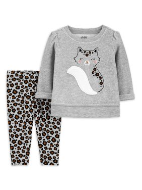 Child of Mine by Carter's Toddler Girls Pullover Fleece Sweatshirt & Leggings, 2pc Outfit Set (Sizes 2T-5T)