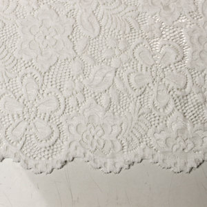 OFF WHITE  58'' Caroline Floral Scalloped Nylon Stretch Scalloped Lace Fabric by the Yard